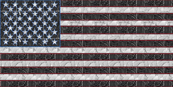 Digital Art - United States Of America Flag Art Deco  by Cecely Bloom