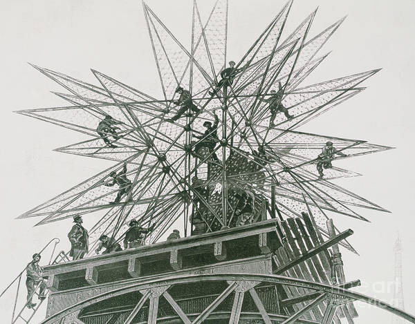 Wall Art - Drawing - Universal Exposition Of 1900, Installation Of The Star On Top Of The Palace Of Electricity  by Henri Lanos