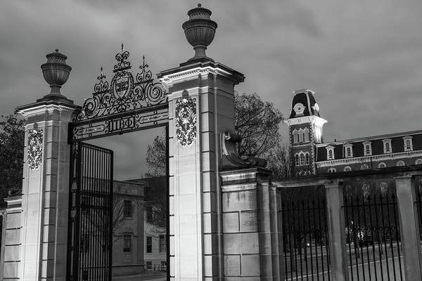 Photograph - University Of Arkansas Old Main And Centennial Gate - Black And White Edition by Gregory Ballos