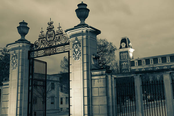 Photograph - University Of Arkansas Old Main And Centennial Gate - Sepia Edition by Gregory Ballos