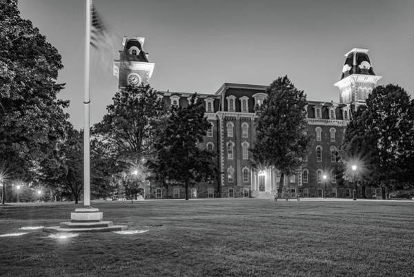 Photograph - University Of Arkansas Old Main - Dusk Light - Black And White by Gregory Ballos