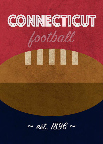 Wall Art - Mixed Media - University Of Connecticut College Football Team Vintage Retro Poster by Design Turnpike