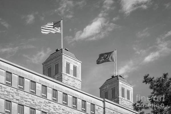 Photograph - University Of Kansas Fraiser Hall Flag Towers by University Icons