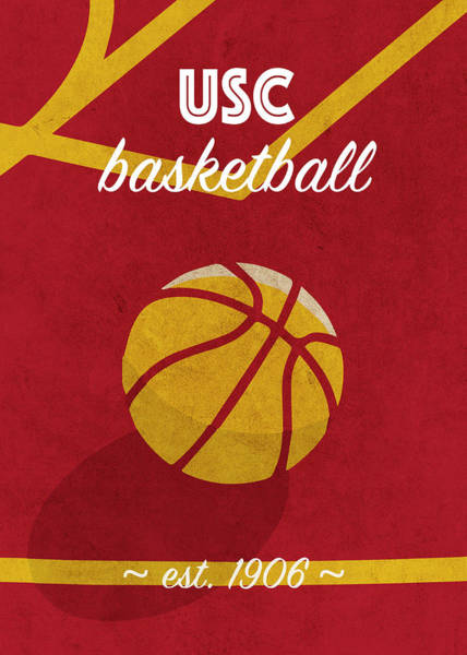 Wall Art - Mixed Media - University Of Southern California Retro College Basketball Team Poster by Design Turnpike