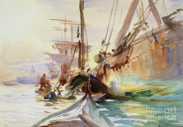 Wall Art - Painting - Unloading Boats In Venice, 1904  by John Singer Sargent