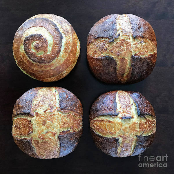 Photograph - Unprocessed Wheat Bran Sourdough With Honey - Cross And Spiral Set 1 by Amy E Fraser