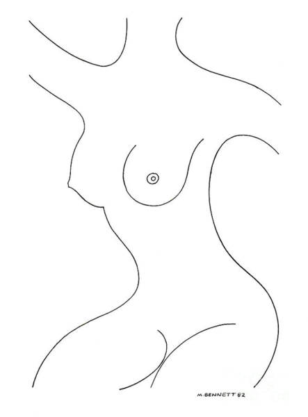 Wall Art - Drawing - Untitled Nude Female Figure  by Manuel Bennett