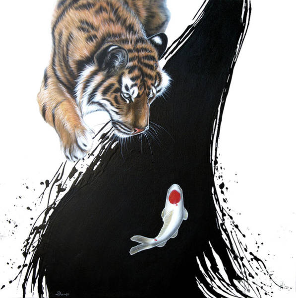 Painting - Untitled Tiger With Koi by Sandi Baker