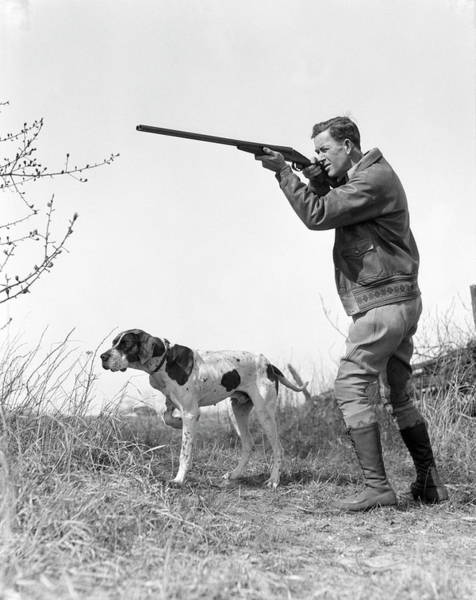 White Dog Photograph - Upland Bird Hunter With Pointer Dog by H. Armstrong Roberts