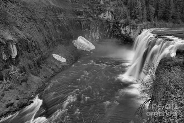 Wall Art - Photograph - Upper Mesa Falls Landscape Black And White by Adam Jewell