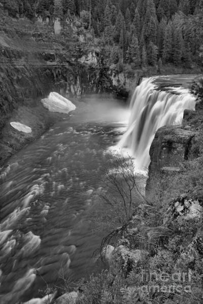 Wall Art - Photograph - Upper Mesa Falls Portrait Black And White by Adam Jewell