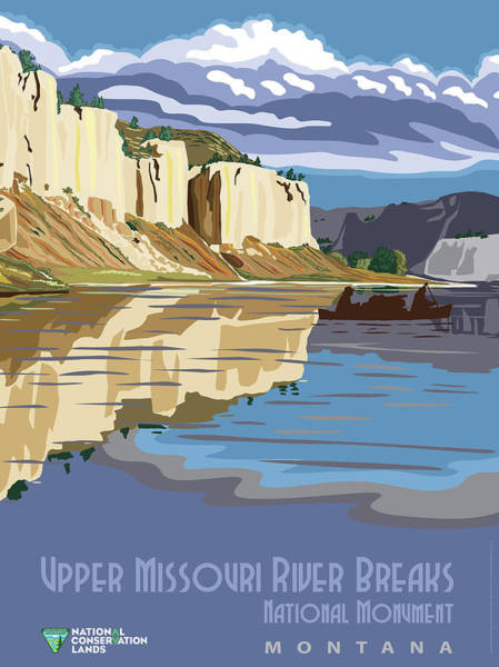 Wall Art - Mixed Media - Upper Missouri River Breaks National Monument Travel Poster by B L M