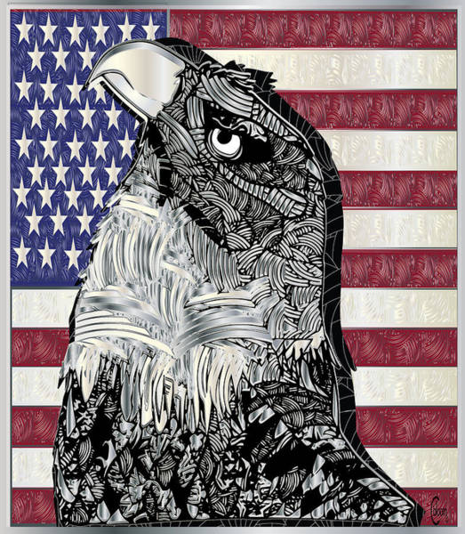 Drawing - Upward Looking American Eagle by Cecely Bloom