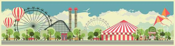 Wall Art - Digital Art - Urban Amusement Park Circus Tent by Marrishuanna