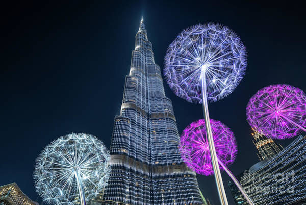 Wall Art - Photograph - Urban Dandelions - Burj Khalifa In Dubai by Delphimages Photo Creations