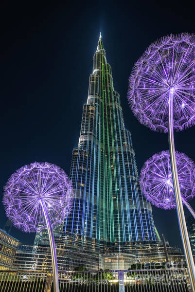Wall Art - Photograph - Urban Flowers - Burj Khalifa In Dubai by Delphimages Photo Creations