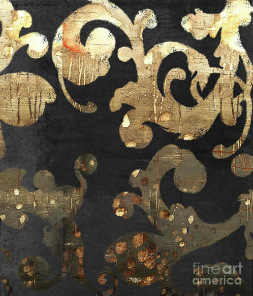 Wall Art - Painting - Urban French Damask Black And Gold Grunge by Tina Lavoie
