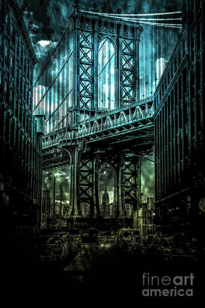 Empire State Building Digital Art -  Urban Grunge Collection Set - 12 by Az Jackson