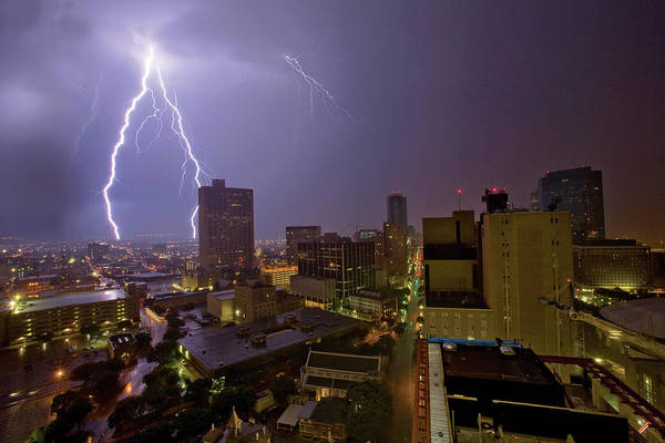 Fort Worth Photograph - Urban Lightening Storm In The City by Monkeypics