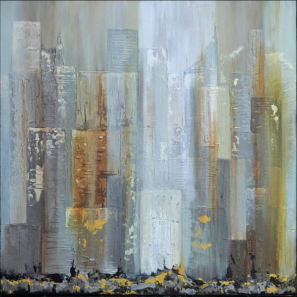 Wall Art - Painting - Urban Reflections I Night Version by Shadia Derbyshire