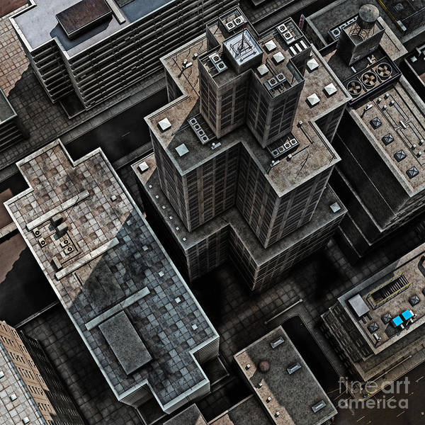 Office Digital Art - Urban Rooftops, Aerial View Of A 3d by Petrafler