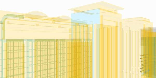 Digital Art - Urban View In Golden Lines. by Alberto RuiZ