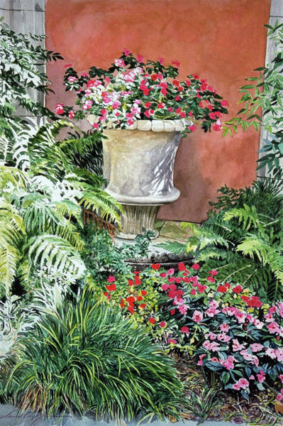 Painting - Urn Of Impatiens - Bel-air Hotel by David Lloyd Glover
