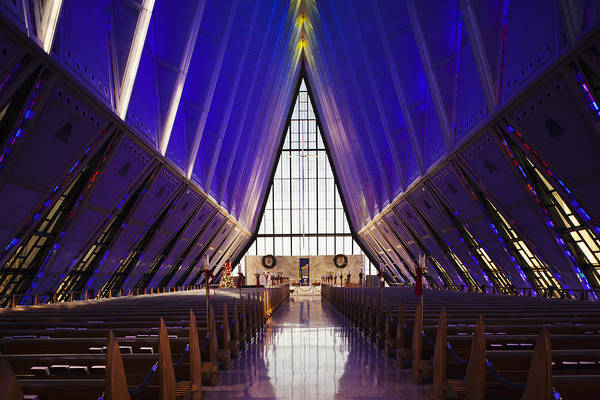 State Of Colorado Photograph - U.s. Air Force Academy, Cadets Chapel by Walter Bibikow