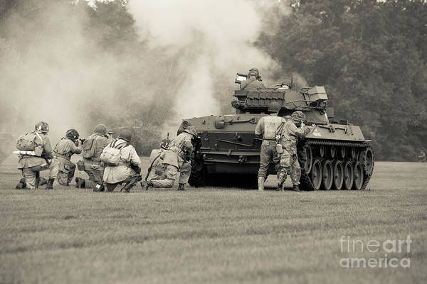 Wall Art - Photograph - Us Army Forces Tank Battle by Edward Fielding