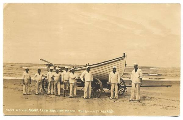 Painting - Us Life Saving Crew Bar View Beach Tilamook Co, Oregon by Celestial Images