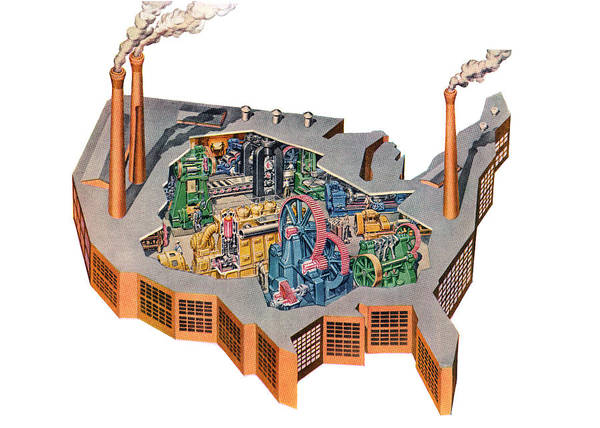 Archival Digital Art - Us Map As Industrial Factory by Graphicaartis