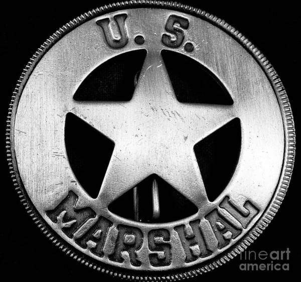 Wall Art - Photograph - Us Marshal Badge by John Rizzuto