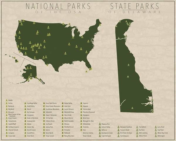 Delaware State Park Wall Art - Digital Art - Us National Parks - Delaware by Finlay McNevin