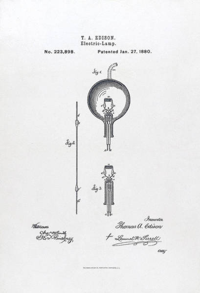 Painting - U.s. Patent 223898  Electric-lamp. Issued January 27, 1880. by Celestial Images