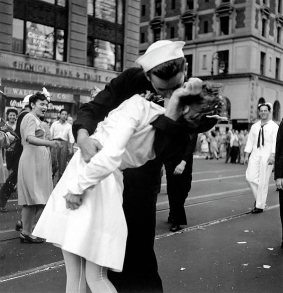 Bending Photograph - Us Sailor Bending Young Nurse Over His A by Lt. Victor Jorgensen