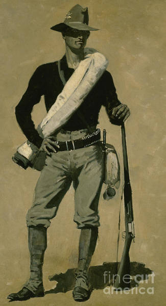 Wall Art - Painting - Us Soldier by Frederic Remington