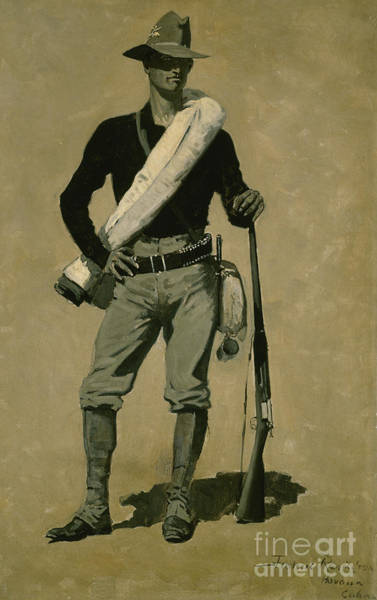 Wall Art - Painting - Us Soldier, Spanish-american War, A First Class Fighting Man, 1899 by Frederic Remington