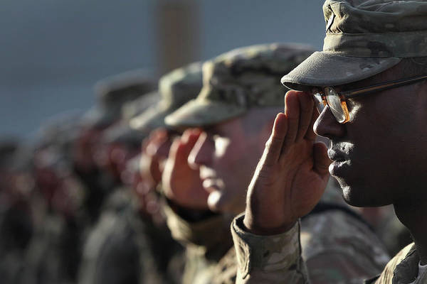Photograph - U.s. Soldiers Commemorate 911 by John Moore