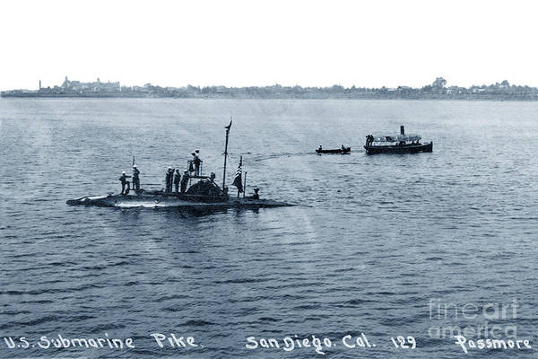 Photograph - U.s. Submarine Pike Off San Diego, California,  With Sailors On  by California Views Archives Mr Pat Hathaway Archives