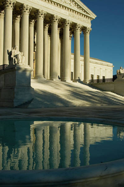 Court Photograph - Us Supreme Court Reflection In Pool by Dhuss