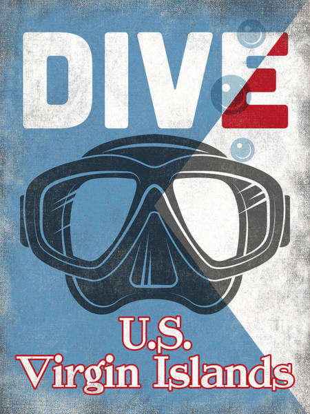 U.s. Virgin Islands Vintage Scuba Diving Mask Art Print