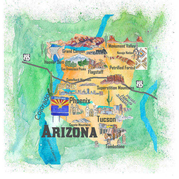 Flagstaff Painting - Usa Arizona State Travel Poster Illustrated Art Map by M Bleichner