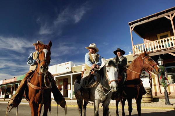 Tombstone Arizona Photograph - Usa, Arizona, Tombstone, Three Cowboys by Walter Bibikow