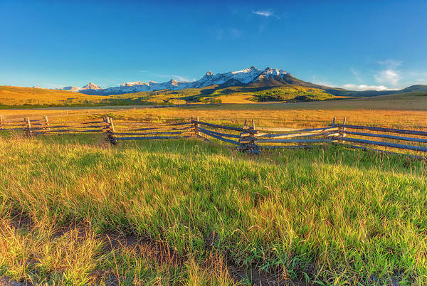Wall Art - Photograph - Usa, Colorado Grassy Landscape At Sunset by Jaynes Gallery