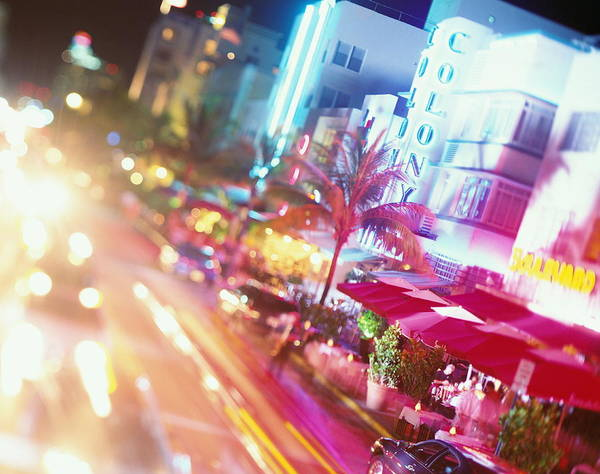 Multi Exposure Photograph - Usa, Florida, Miami, Ocean Drive, Night by Jerry Driendl