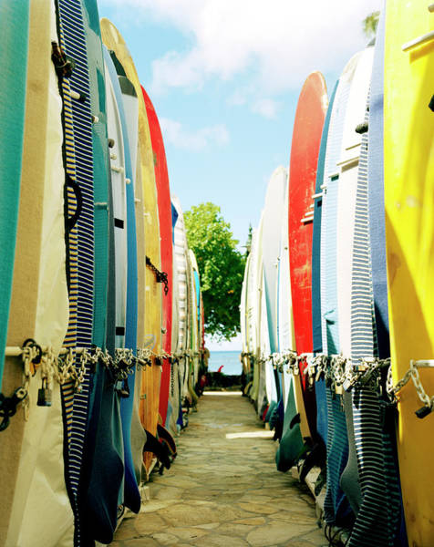 Longboard Photograph - Usa, Hawaii, Long Board Lockers On Beach by Nina Choi