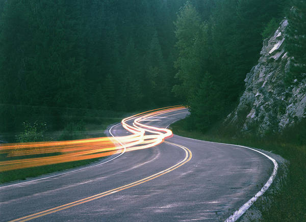 Highway 12 Wall Art - Photograph - Usa, Idaho, Car Headlight Trails On by Laurance B. Aiuppy