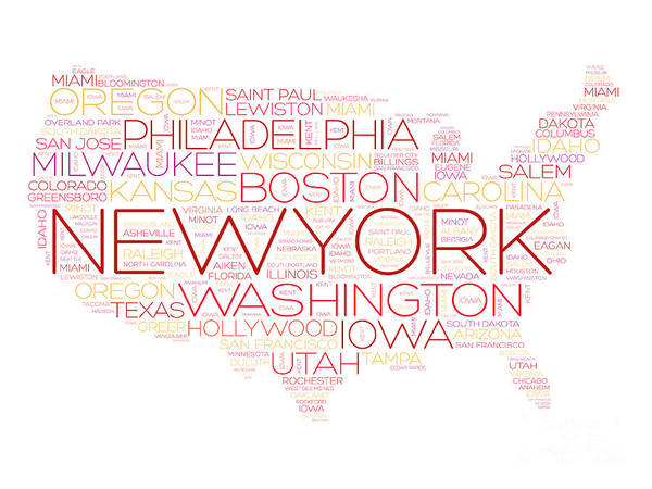 Wall Art - Digital Art - Usa Map Word Cloud With Most Important by Dizain