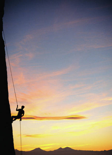 Climbing Photograph - Usa, Oregon, Male Rock Climber by Alan Kearney