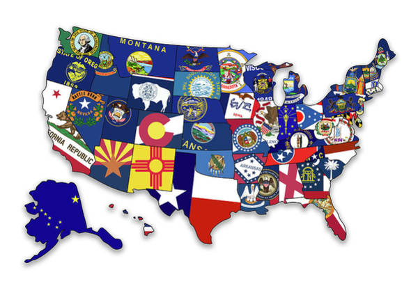 Wall Art - Photograph - Usa States Flags Map by Ricky Barnard